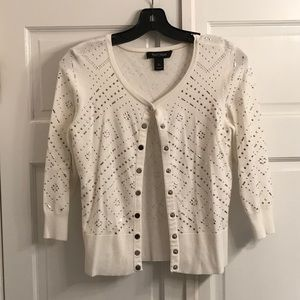 WHBM silver and gold studded 3/4 sleeve cardigan